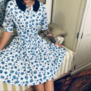Eshakti Asymmetric Sash Tie Floral Print Dress 10